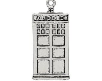 1 Antiqued Silver Police Box Charm | Tardis | Doctor Who | 2003