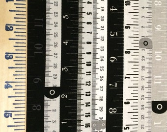 Black and white measuring tape fabric - Sew Charming by Bo Bunny For Riley Blake - half yard