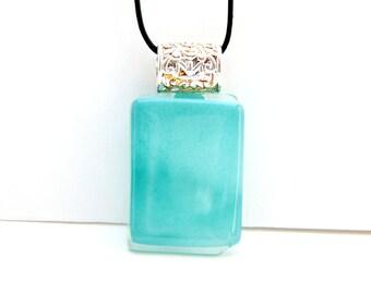 Glass Fusing Blue Rectangle pendant