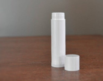 White Empty Lip Balm Tube. 100 Pieces. .15 oz. Made in USA. BPA Free. White Plastic. Tube and Cap. Eco Friendly. Recyclable. Lowest Price!