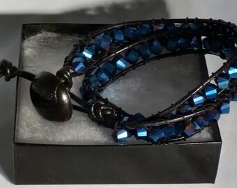 Blue Crystal Leather Wrap Bracelet