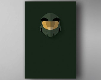 The Master Chief Inspired. Minimalistic. Halo. Video Game Poster. Wall Art.