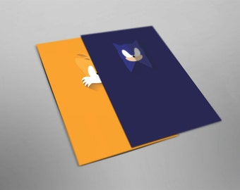 Sonic and Tails Inspired. Set. Minimalistic. Sonic the Hedgehog. Video Game Posters. Wall Art.
