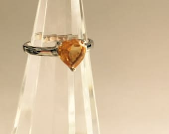 Silver & Citrine heart shaped ring