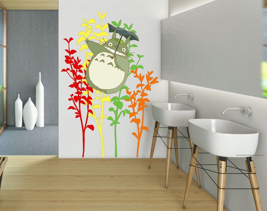 totoro funny in colorful tree wall decal sticker vinyl by buaphun