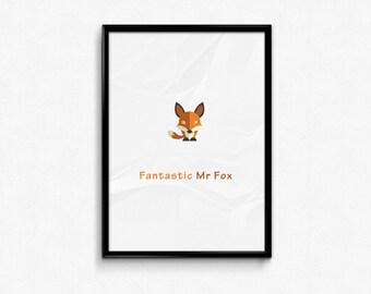 Fantastic Mr Fox - Custom Minimal Modern Art Movie Poster Print Abstract