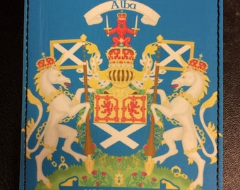 PictaLeather Scottish Passport Cover with unchained unicorns