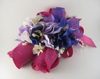 Magenta Purple Wedding Prom Rose Flower Pin On or Wrist Corsage