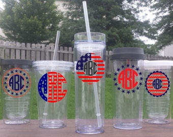Patriotic Monogrammed Tumbler, 4th of July, Memorial Day, Labor Day