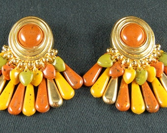 Vintage 1970  Feathered Earrings - Cosmetic Jewelry - Clip on Earrings