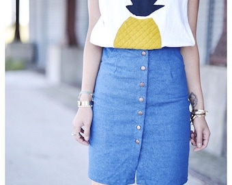 LE RE SKIRT - Denim Button Midi Skirt