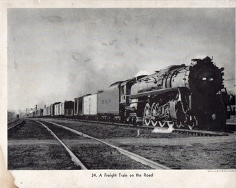 1930s Vintage Railroad Picture A frieght Train on the Road Heavy Stock Paper Free Shipping #80s