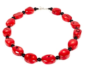 "Scarlett -18"" necklace of bamboo coral, onyx and sterling silver"