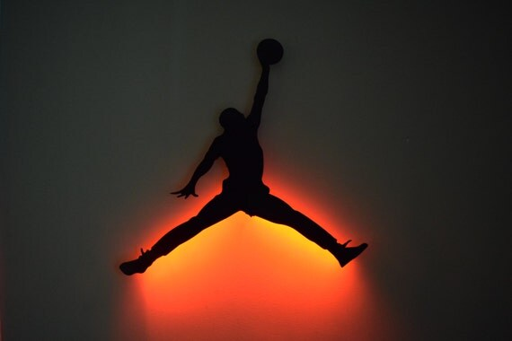 Led Wall Art items similar to jump man logo - led backlit floating metal wall