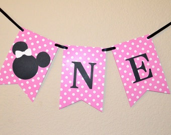 "Minnie Mouse ""ONE"" Banner/Pink Polka Dots/Disney"