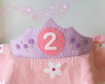 Birthday princess crown. gift for 2yr old. Felt crown. Birthday gift for girl