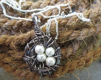 Large Gunmetal Bird Nest Necklace with Four White Freshwater Pearls on 30'' Beaded Chain