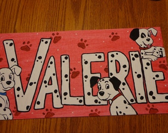 Customized Hand-painted Name painting with choice of cartoon characters - personalized