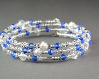 Memory Wire Bracelet,Sapphire and Crystal Moonlight beaded bracelet,Wedding Jewellery,Bridesmaid jewellery,Holiday bracelet