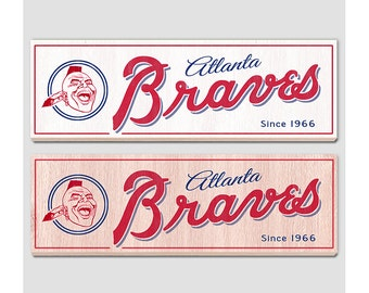 "Atlanta Braves wood sign - 7"" x 22"" - Atlanta Braves fan wall hanging - Boys room Man cave Sports Bar decor - Fathers Day gift for Dad"