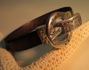 Men Brown Engraved Leather Bracelet