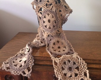 Luxurious soft handmade crocheted scarf, natural yarn in neutral variegated colours (70%wool & soybean protein)