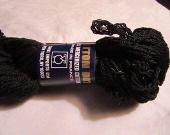7 Skeins Tahki Cotton Dot Black Knitting Yarn Vintage