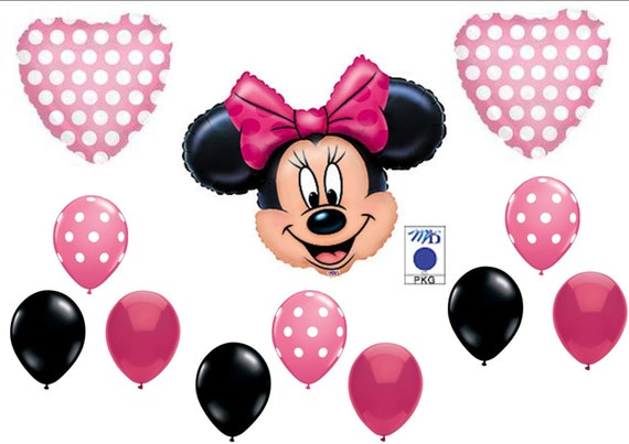 Pink minnie mouse birthday party balloons by truetreasures55 for Balloon decoration minnie mouse
