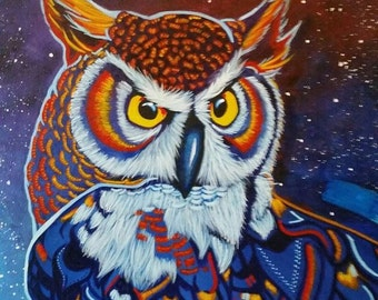 Archimedes - Colourful Abstract Owl Original Painting