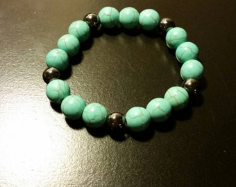 Turquoise stoned beaded bracelet