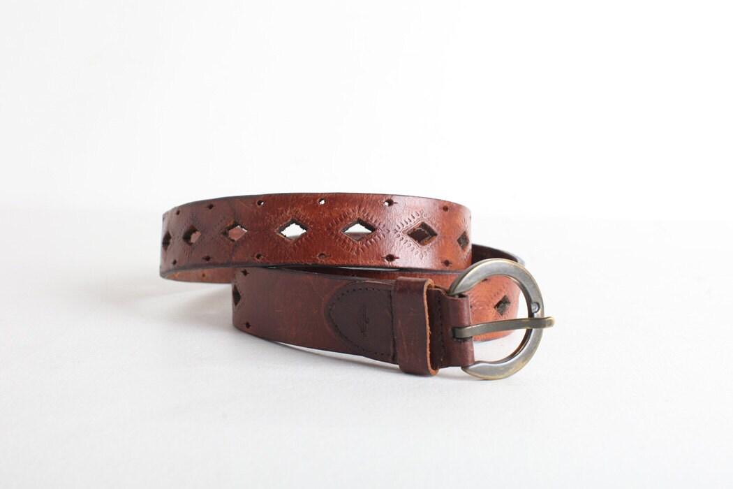 vintage brown leather cut out belt unisex belt dockers belt
