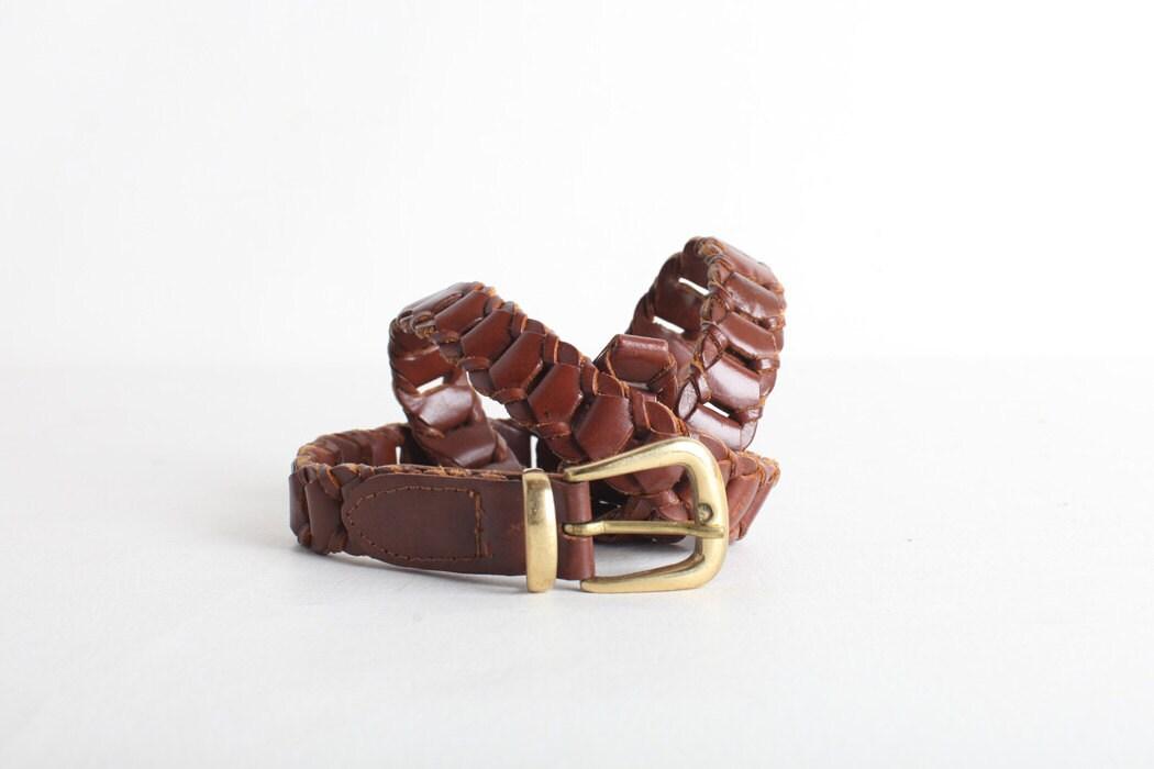 size large s brown leather link belt