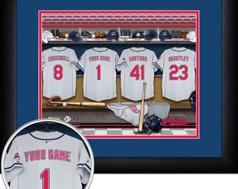 Locker Room Print - MLB- Cleveland Indians-Personalized!! MATTED and FRAMED