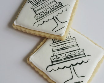 Decorated Iced Sugar Cookies Birthday Party Favors Gift black and white distressed