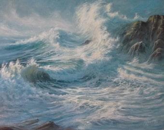 Elegance of the Storm Seascape Sea Ocean Waves Surf Marine Original Oil Painting
