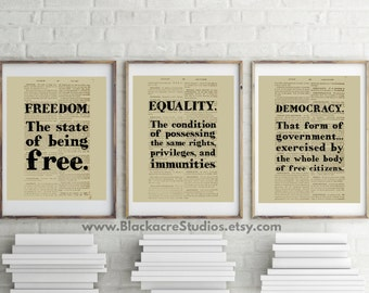 BESTSELLER - Black's Law Print Set - Lawyer Gift - Gifts for Lawyers - Freedom - Equality - Democracy - Holiday Gift Ideas - 4th of July