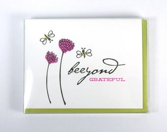 Thank You Letterpress Box Set of 5 Cards // Beeyond Grateful // Bee & Clover // Thanks // Bees