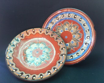 Vintage Souvenir Plates, Traditional Bulgarian Ceramic, Hand Made Pottery, Bulgarian Folk Art Ceramic Glazed Plates/Set of 2