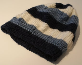 Knitted striped baby beanie