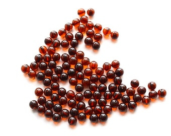 Baltic amber beads. Round 6mm amber. Natural amber beads. 100 pieces with holes. 4282
