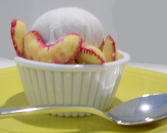 Pretend Felt Food peaches and cream...glued into bowl