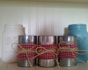 Set of four upcycled tin cans.  Great for parties, office, and country/rustic home decor.