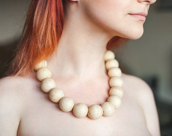 Wooden necklace Natural necklace Wooden jewelry