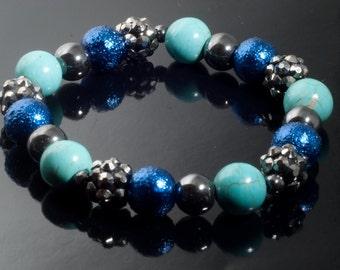 Grey and Blue Chunky Stretch Bracelet with Turquoise