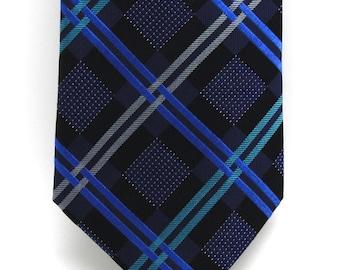 Mens Blue Checked Silk Tie