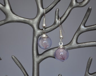 925 Sterling Silver and Glass Ball with Purple Hydrangea Dangle Earrings