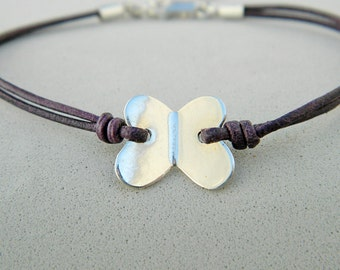 Leather and sterling silver bracelet. Butterfly bracelet. Sterling silver butterfly bracelet. Frienship bracelet. Leather bracelet.L024