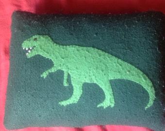 T-Rex decorative pillow,Dinosaur pillow,Felt dinosaur pillow,Recycled felt