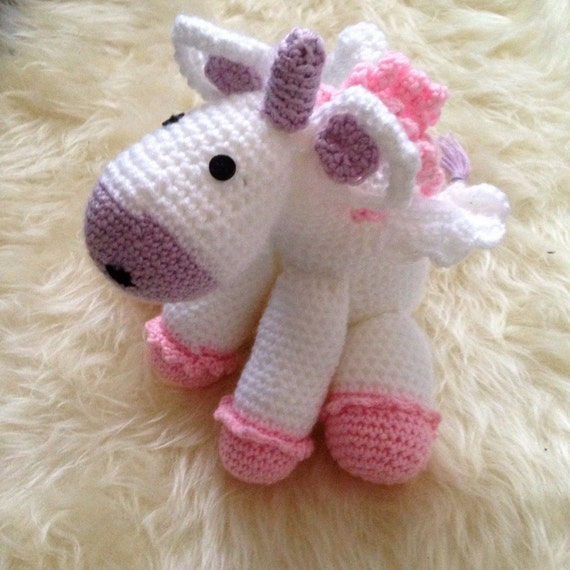 Crochet unicorn soft toy by Ooaksales on Etsy