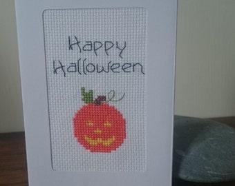 Happy Halloween/pumpkin handmade cross stitch greetings card